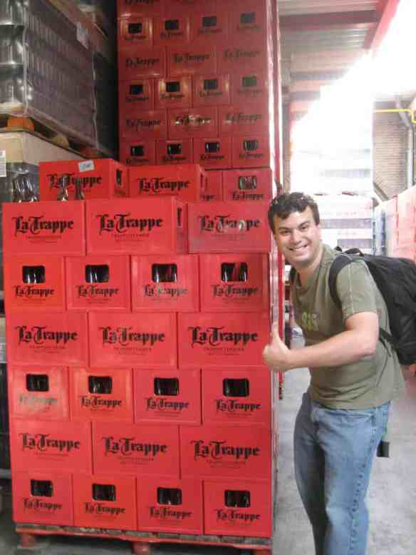 Stacks of La Trappe beer crates wait to be distributed outside the monastery