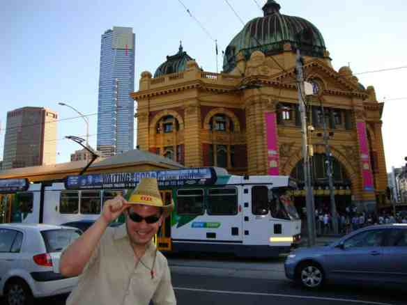 """Melbourne, Australia...saving money to travel' as """"Hawk Reynolds,"""" cattle rancher from Texas, down under to check out the big city."""