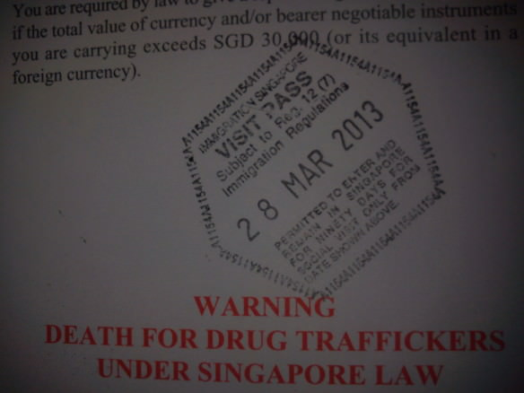 Entry stamp into Singapore, crazy Singapore photos
