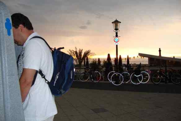 Beautiful sunset to utilize the outdoor urinal at Scheveningen beach, Netherlands