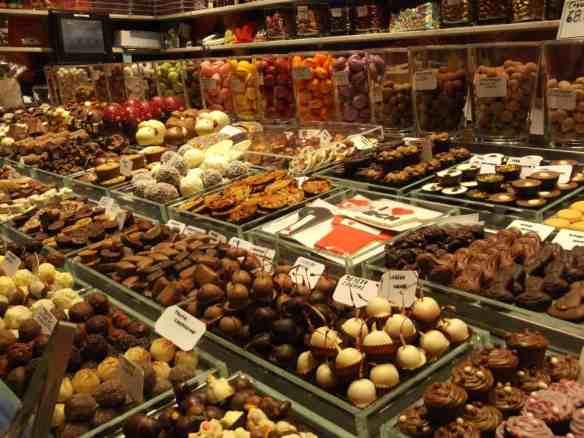 Spanish market food - chocolates on display