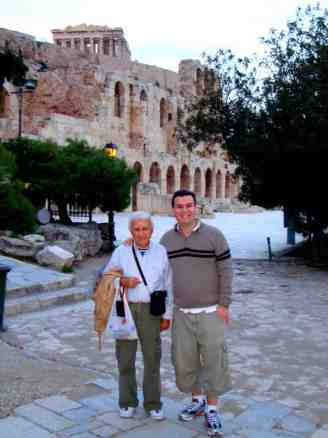 Together with my father at the foot of the Acropolis, for the first time as adults, in 2010.