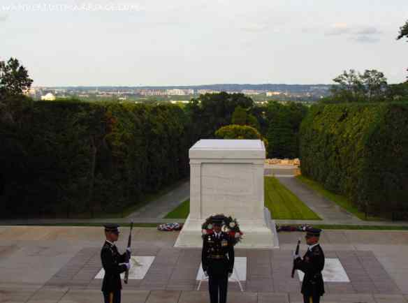View of Washington, D.C. from the Tomb of the Unknown Soldier in Arlington, Virginia.