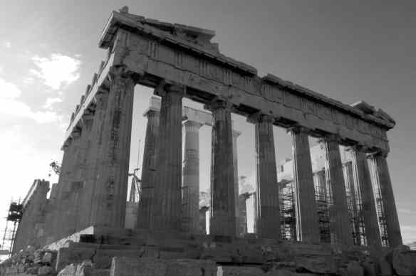 Parthenon Athens black and white
