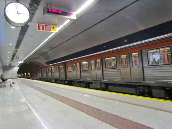 A typical Athens metro stop- clean, efficient and reliable.