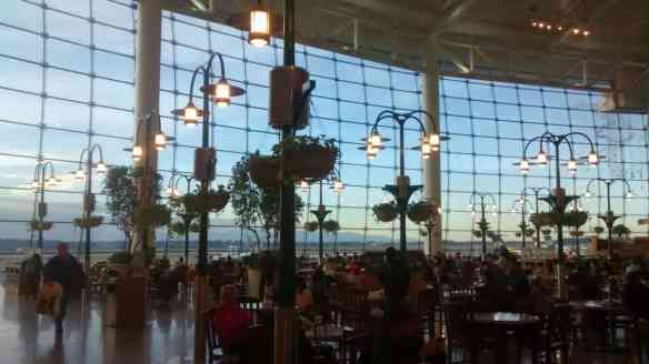 Seattle-Tacoma airport has a beautiful food court dining area. The only plus of being stuck was the lovely view.