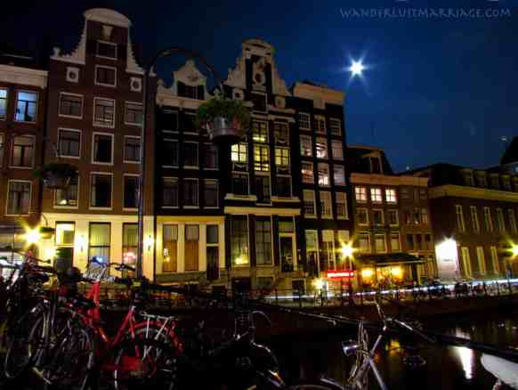 Amsterdam at Night with the Moon