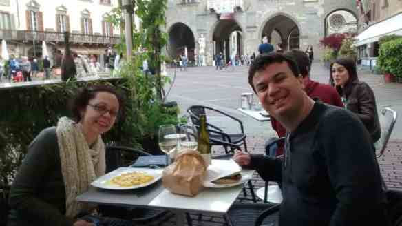 Bergamo piazza lunch