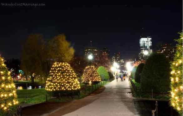 Boston Public Garden lights