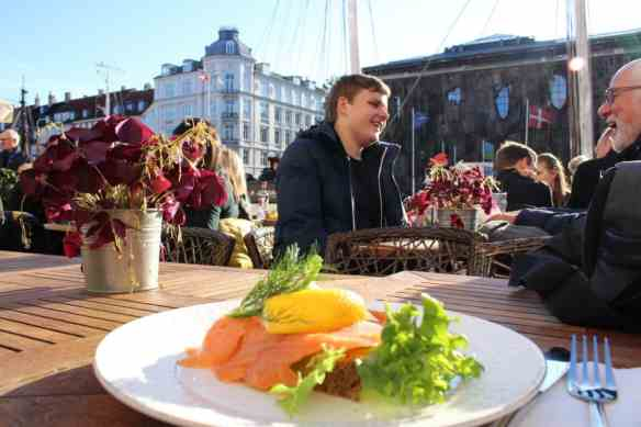 Smoked salmon lunch in Nyhavn, Copenhagen