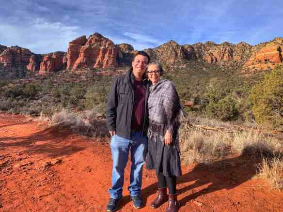 Alex and Bell with the red rocks of Sedona
