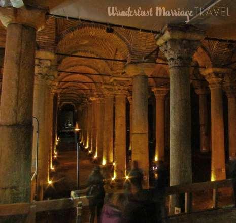 Tall columns of an underground cistern