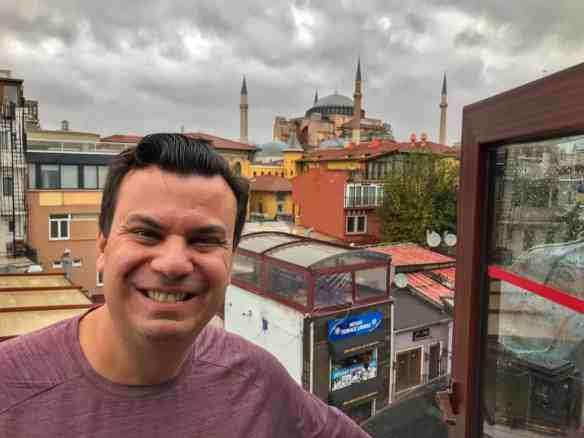 Istanbul balcony view of Hagia Sofia