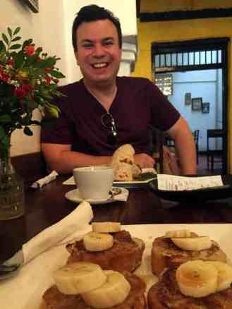 Alex and french toast sitting in Zanzibar coffee house