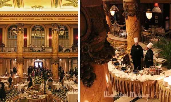 Opulent foyer at the Jefferson hotel set up for brunch