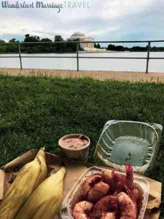 picnic of shrimp & corn along the tidal basin DC