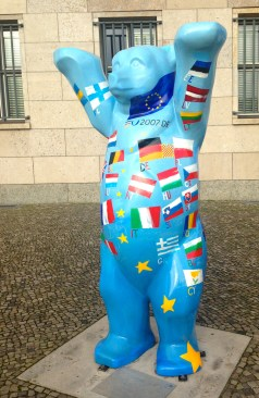 These Berliner Bears are found all over the city, each with its own special theme like this one with different country flags.