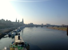 The Elbe River separates Dresden's old and new sections.