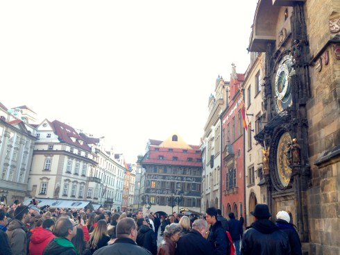 Crowds gather every hour to watch the short show at the astronomical clock. It was built in 1410 and is the oldest one still working.