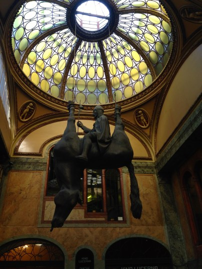"Upside-down statue of King Wenceslas riding a dead horse: ""The sculpture is a mocking reference to the more famous equestrian statue of King, and later, Saint Wenceslas which sits in Wenceslas Square, and possibly a mocking nod to Czech president Vaclav Kraus, although the artist will not say what his intentions were."""