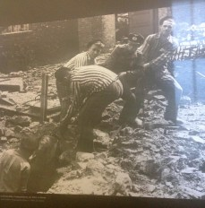 Here is an example of the propaganda the Nazi's used for the concentration camps. This picture depicts prisoners working together with an SS guard to remove a bomb in the rubble. The prisoners look strong and well-fed, much different from the actual prisoners.