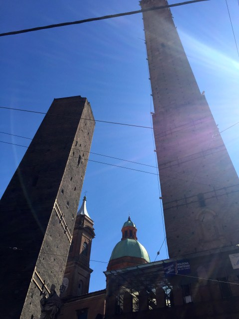 The next day we stopped in Bologna for some gelato and pizza. The tower on the left is leaning towards the other on the right so it is called the kissing tower.