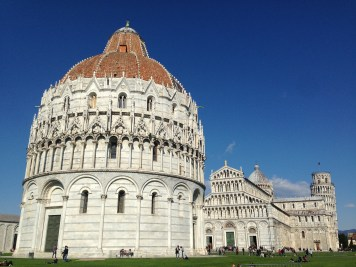 Day trip to Pisa! This is the field of miracles with the the Baptistery of San Giovanni, the Duomo, and the Leaning Tower.