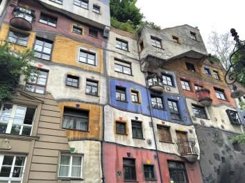 Hundertwasserhaus: an expressionist apartment building designed by the artist Friedensreich Hundertwasser