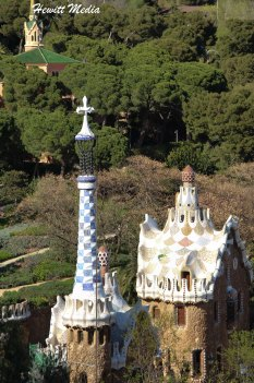 Gaudi's style is very visible in the many buildings within Parc Guell