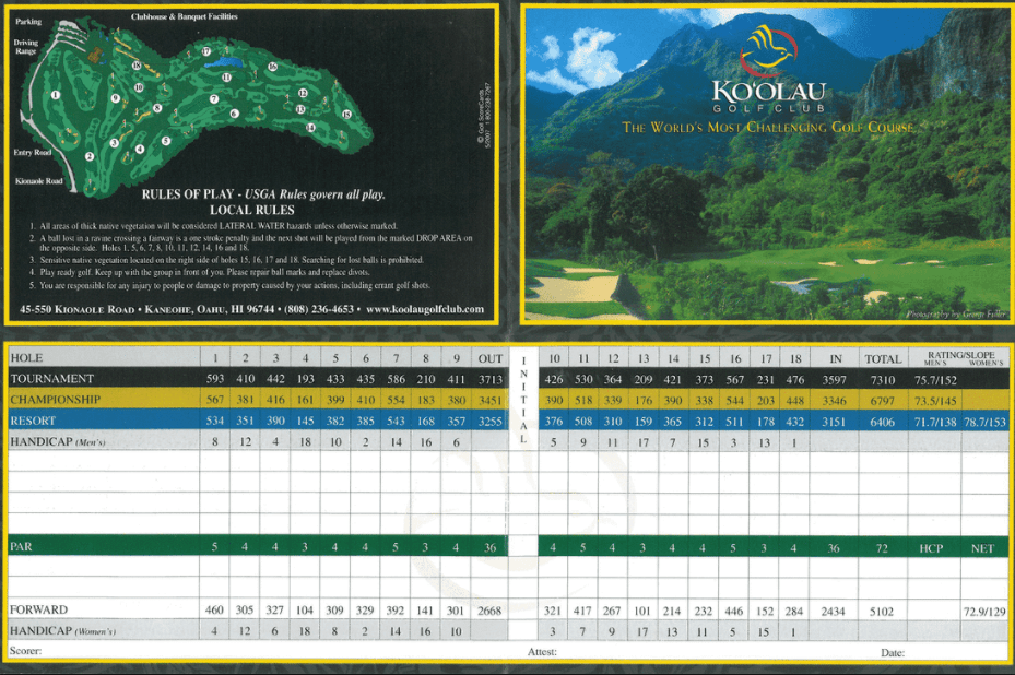 Ko'Olau Golf Card