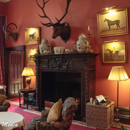 One of the many beautifully decorated common areas in the castle hotel