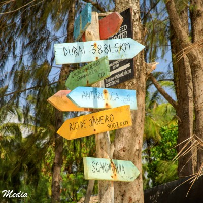 Signs near a resort in Paje Beach, Zanzibar