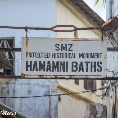 Sign for the historic Hamamni Baths in Stone Town