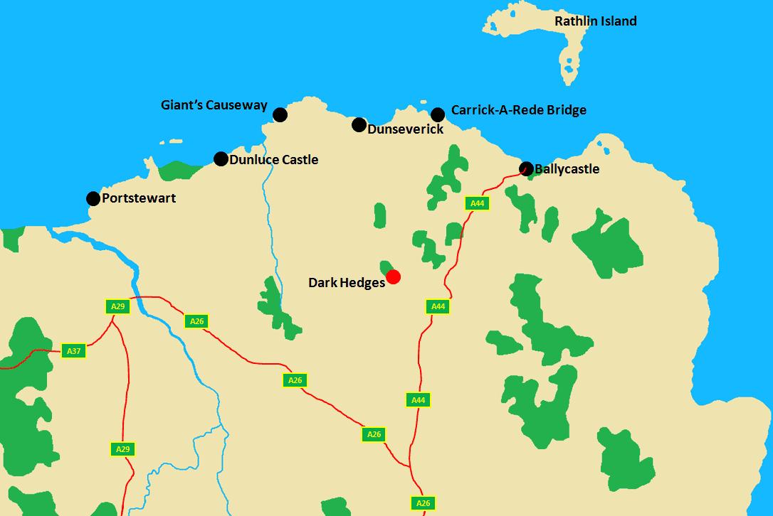 Dark Hedges Area Map