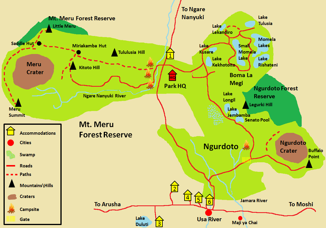 Arusha National Park Detail Map