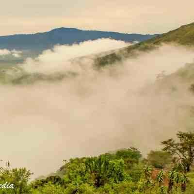 The Ngorongoro Crater under morning fog