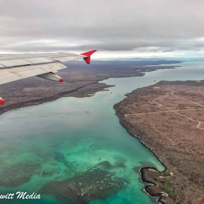 Our view when coming into the Galápagos Islands.