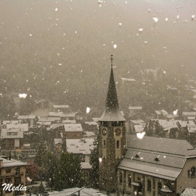 Zermatt during snow fall