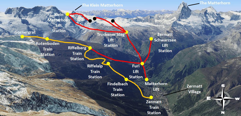 Zermatt Train and Lift Map