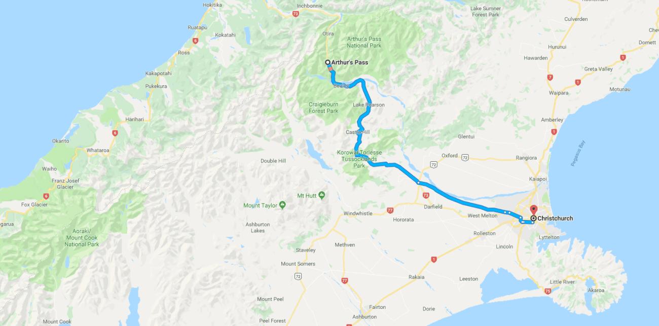 Aurthur's Pass to Christchurch Map.png