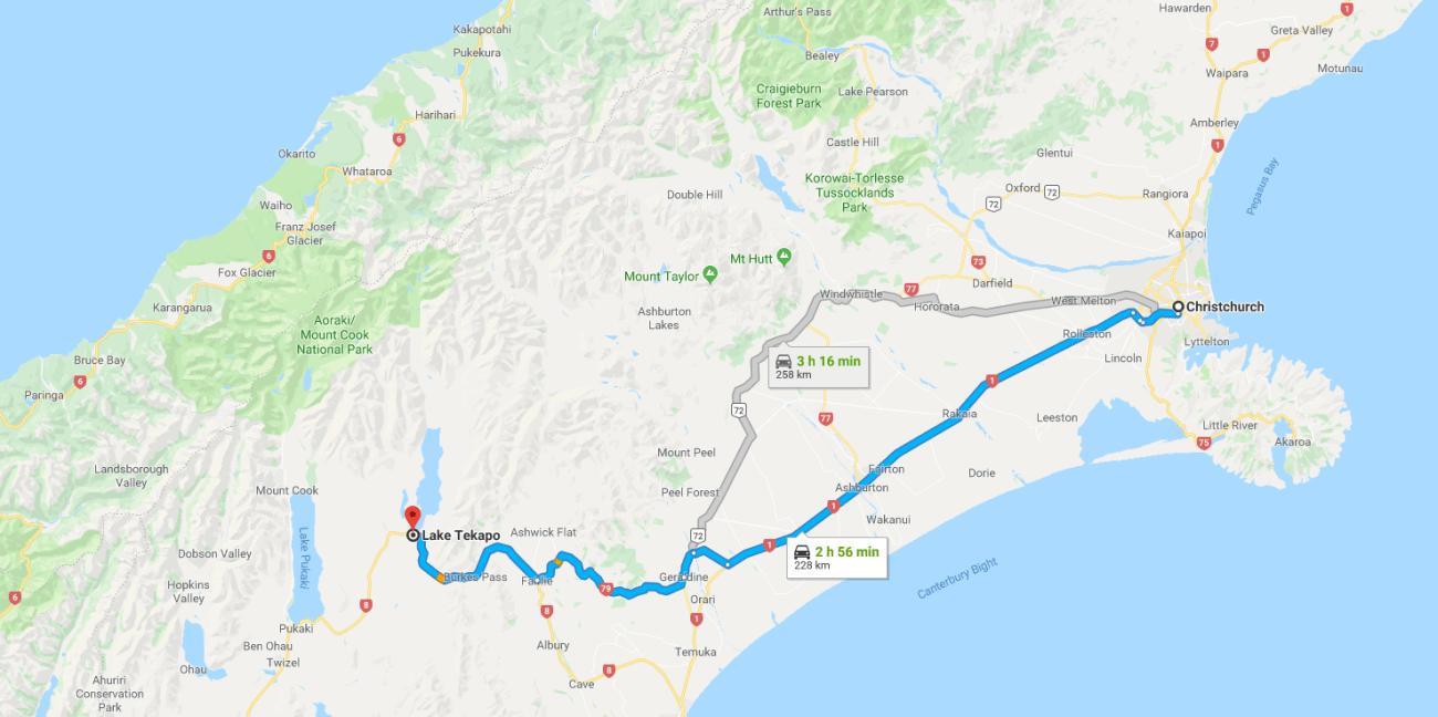 Christchurch to Lake Tekapo Map.png