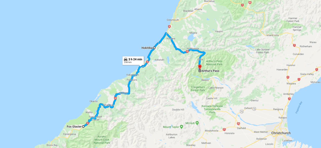 Fox Glacier to Aurthur's Pass Map.png