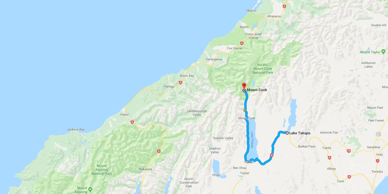 Lake Tekapo to Mount Cook Map.png