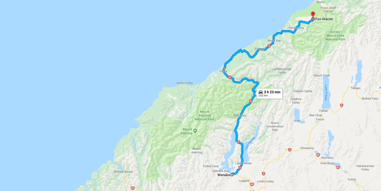 Wanaka to Fox Glacier Map.png