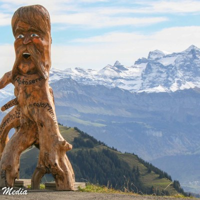 Wooden Sculpture in the Alps above Lucerne