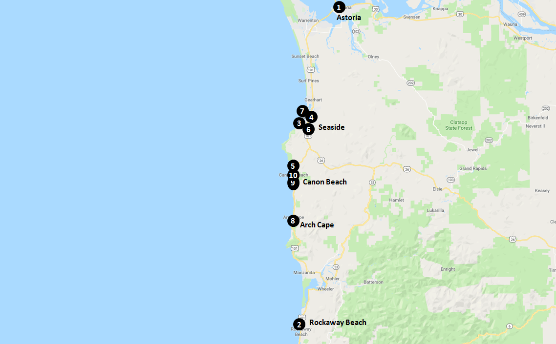 Ecola State Park and Canon Beach Hotels Map