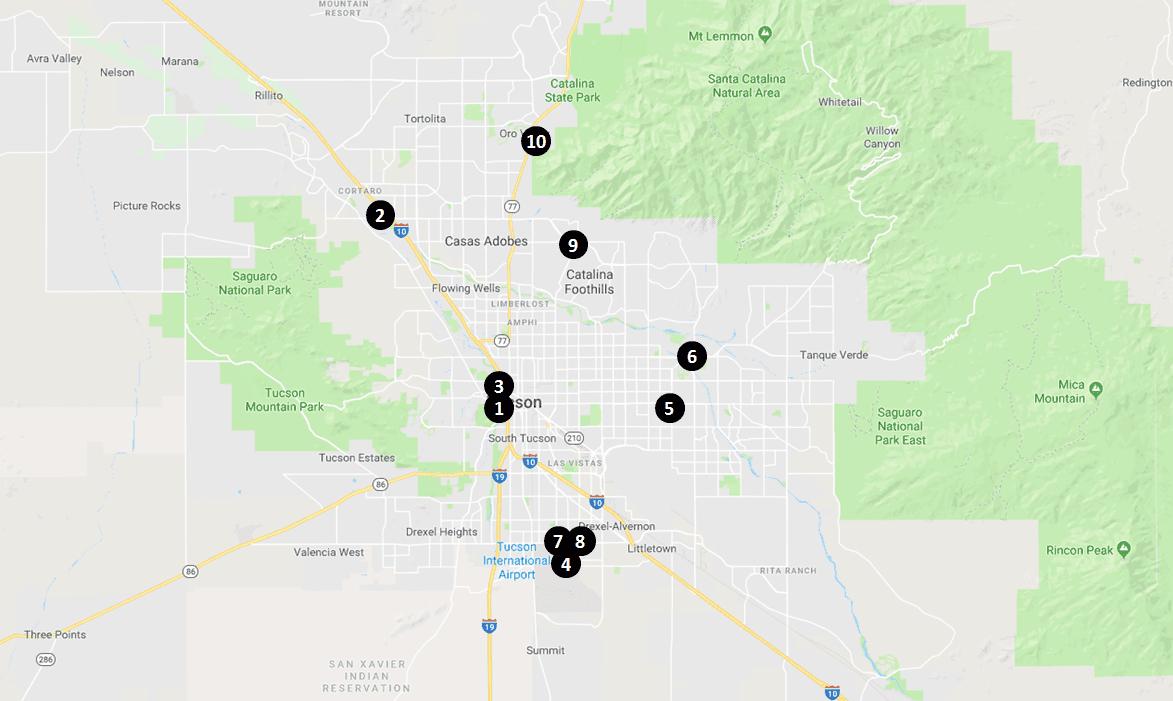 Saguaro Hotels Map