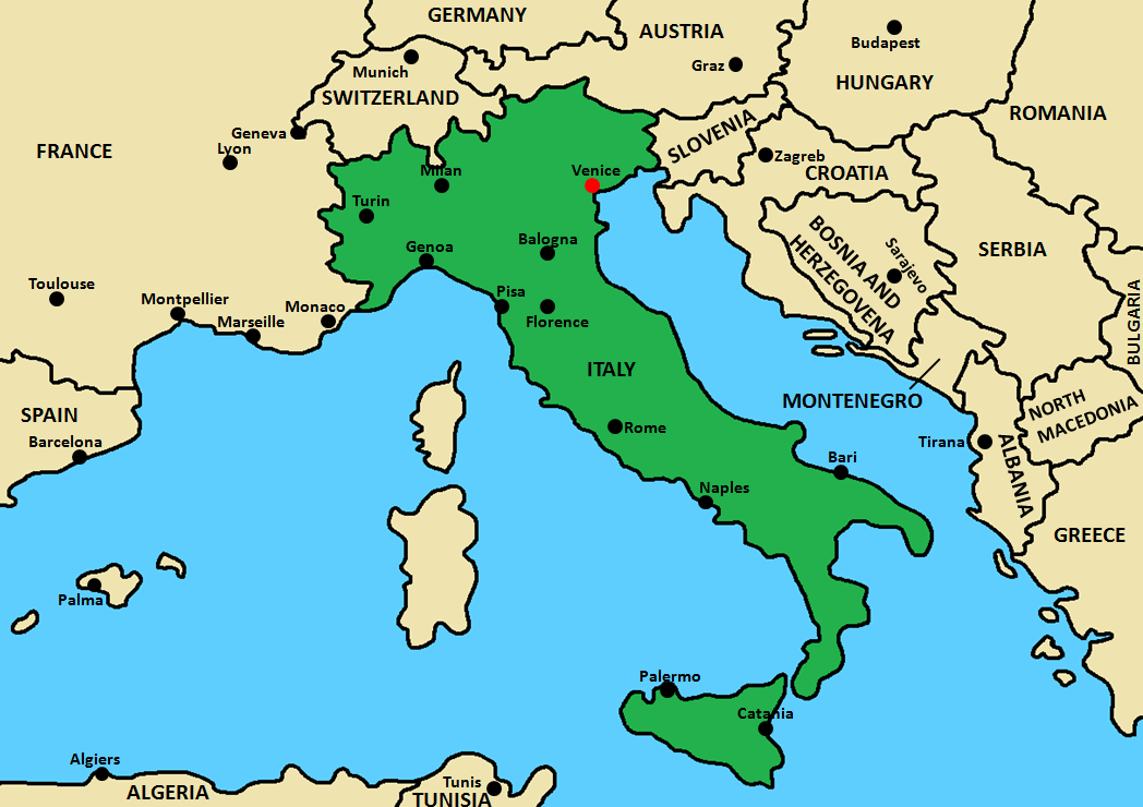 Venice travel guide - Venice Italy Area Map.png