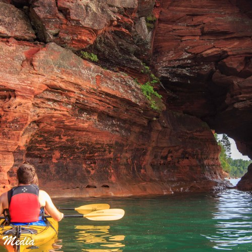 Kayaking thru the sea caves in the Apostle Islands