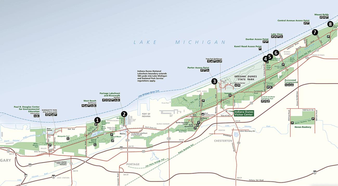 Indiana Dunes Beaches Map